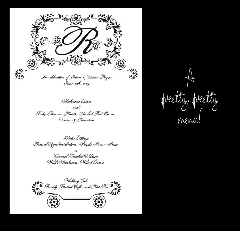 Table Numbers Menu Cards Wedding Ceremony Program etc