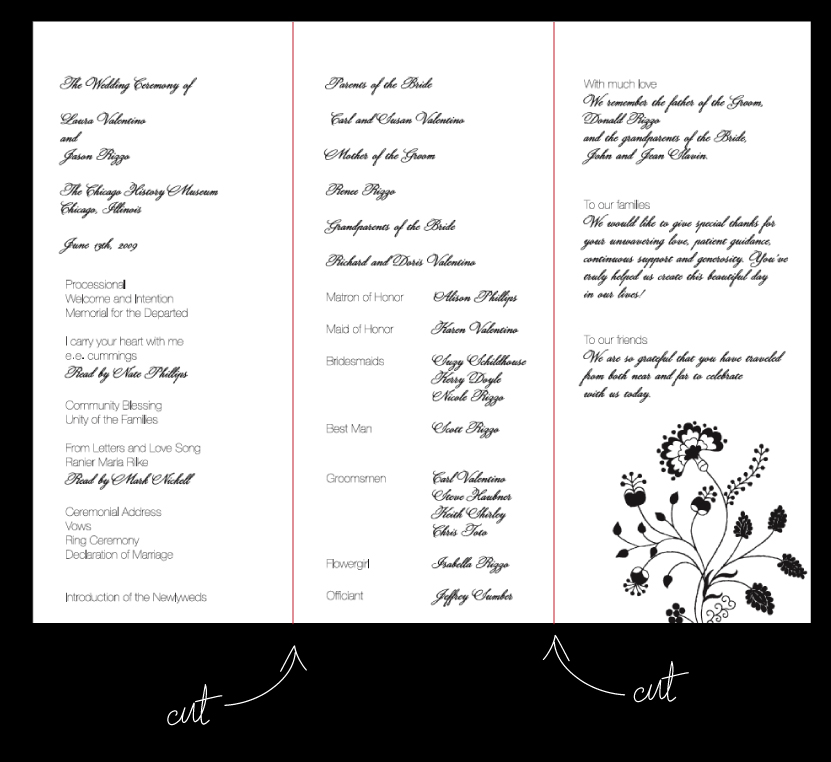 Wedding Ceremony Program Layout